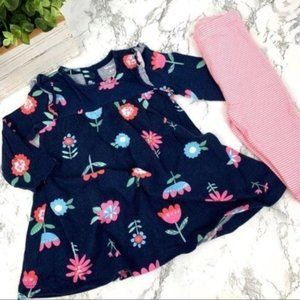 Baby Girl Floral Long Sleeve Dress With Leggings